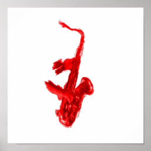 Pintura del saxofón, versión roja con las manos ro póster