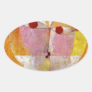 Pintura del Senecio de Paul Klee Pegatina Ovalada