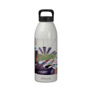 Pintura del surrealismo del tiempo del té botellas de agua reutilizables