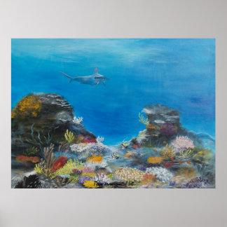 Pintura del tiburón de Hammerhead encendido Póster
