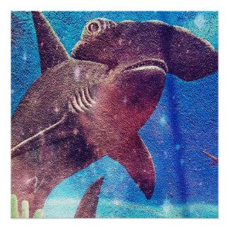Pintura del tiburón de Hammerhead Perfect Poster