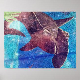 Pintura del tiburón de Hammerhead Póster