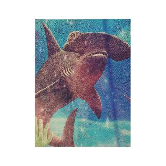 Pintura del tiburón de Hammerhead Póster De Madera