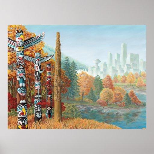 Pintura del tótem de Vancouver del poster del arte