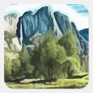 Pintura del valle de Yosemite Pegatina Cuadrada