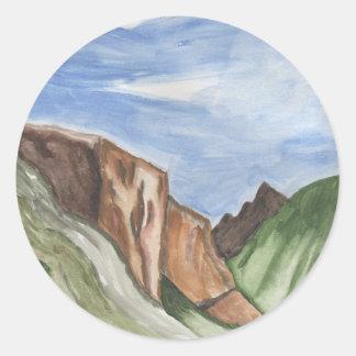 Pintura del valle de Yosemite Pegatina Redonda