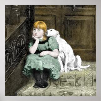 Pintura del Victorian del chica del perro que ador Poster