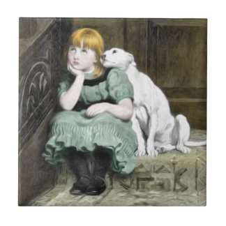 Pintura del Victorian del chica del perro que Azulejo Cuadrado Pequeño