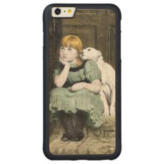 Pintura del Victorian del chica del perro que Funda De Arce Bumper Carved® Para iPhone 6 Plus
