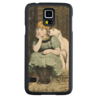 Pintura del Victorian del chica del perro que Funda De Galaxy S5 Slim Arce