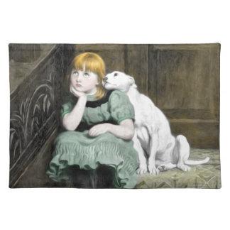 Pintura del Victorian del chica del perro que Mantel
