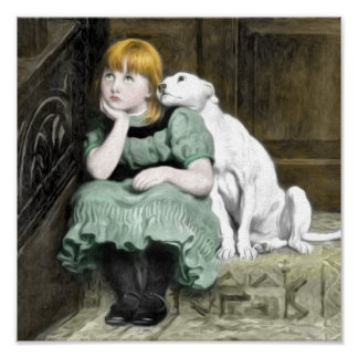Pintura del Victorian del chica del perro que Póster