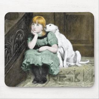 Pintura del Victorian del chica del perro que Tapetes De Raton