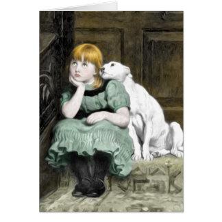 Pintura del Victorian del chica del perro que Tarjeta De Felicitación