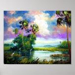 Pintura del viento de los marismas de la Florida Poster