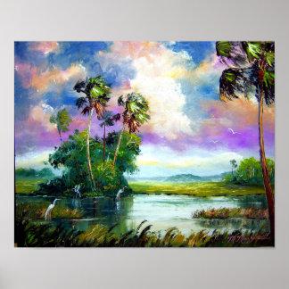 Pintura del viento de los marismas de la Florida Póster