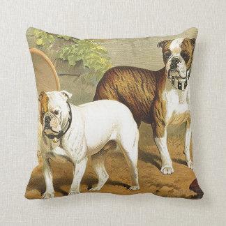 Pintura del vintage de dogos ingleses cojín decorativo
