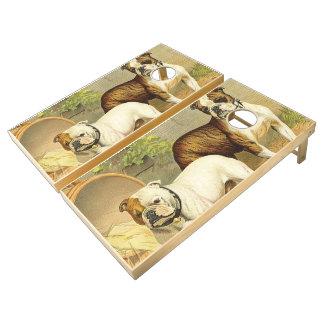 Pintura del vintage de dogos ingleses juego de cornhole