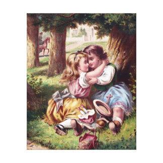 Pintura del vintage de la amistad de los niños lona envuelta para galerias