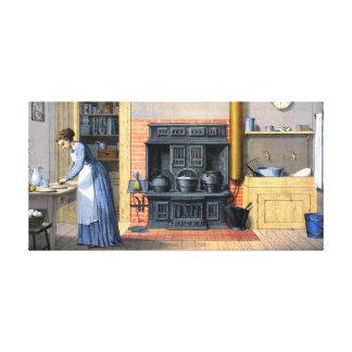 Pintura del vintage de la escena de la cocina impresion de lienzo