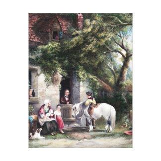 Pintura del vintage de la escena de la granja del impresión de lienzo