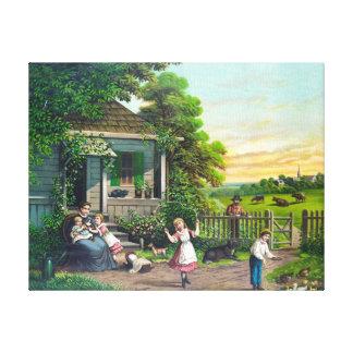 Pintura del vintage de la familia del campo impresión en tela