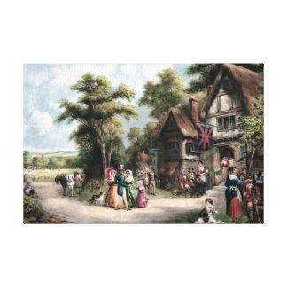 Pintura del vintage de la vida del pueblo lona envuelta para galerías
