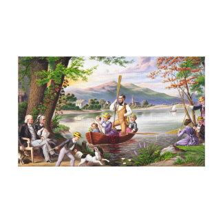 Pintura del vintage de la vida familiar impresión en lona estirada
