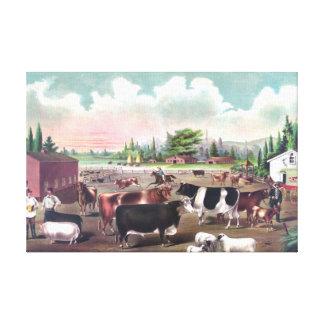 Pintura del vintage de los animales del campo impresiones en lienzo estiradas