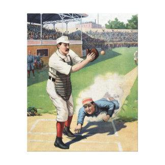 Pintura del vintage del béisbol lona envuelta para galerias