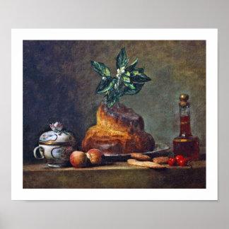 Pintura del vintage del bollo de leche por Chardin Poster