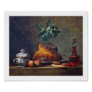 Pintura del vintage del bollo de leche por Chardin Póster