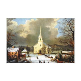 Pintura del vintage del día de invierno impresión de lienzo