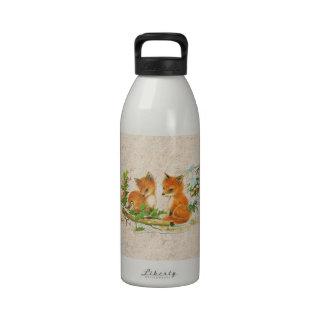Pintura del vintage del estampado de flores lindo  botellas de agua reutilizables