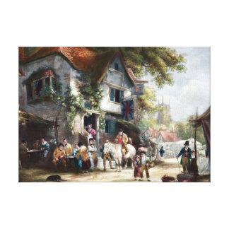 Pintura del vintage del festival del pueblo lona estirada galerias