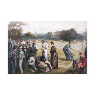 Pintura del vintage del juego del tenis lienzo envuelto para galerías