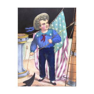 Pintura del vintage del muchacho de marinero lona envuelta para galerías