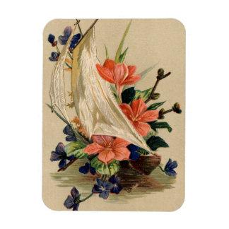 Pintura del vintage - flores en un velero imanes