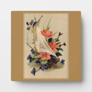 Pintura del vintage - flores en un velero placa para mostrar