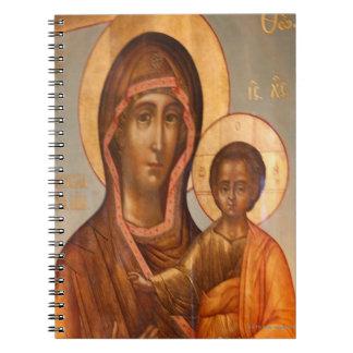 Pintura del Virgen María con Jesucristo Libretas Espirales