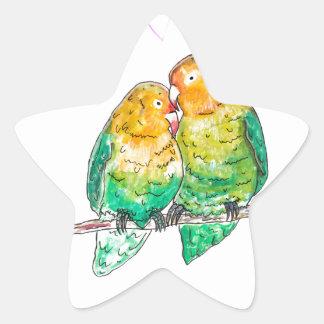 Pintura del watercolour de los Lovebirds con el Pegatina En Forma De Estrella