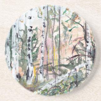 Pintura del Watercolour del arbolado del árbol de Posavasos Para Bebidas