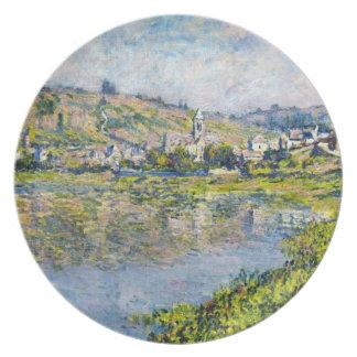 Pintura del waterscape del paisaje de Vetheuil Cla Plato De Cena