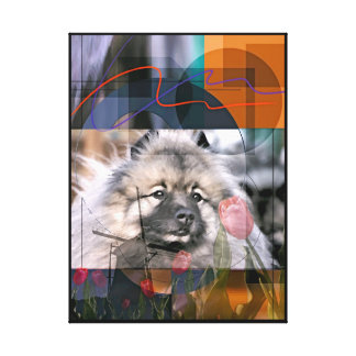 """""""Pintura digital de la abstracción del Keeshond"""" Lona Estirada Galerias"""