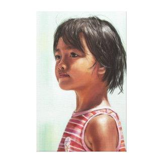 Pintura digital del retrato del pequeño chica asiá impresión en lona