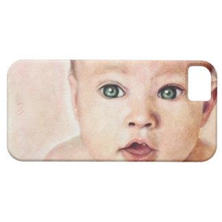 Pintura dulce linda fresca del porrait del bebé iPhone 5 fundas