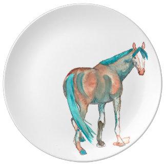Pintura ecuestre del caballo del extracto de la platos de cerámica