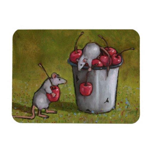 Pintura en colores pastel de dos ratones que roban imán flexible