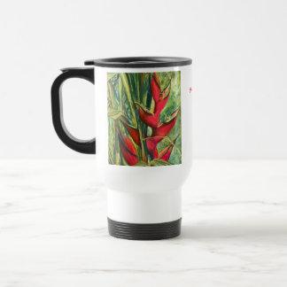 Pintura en colores pastel de la flor tropical roja tazas de café