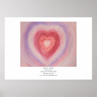 Pintura en colores pastel del corazón póster